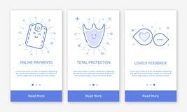 Vectorillustratie van het onboarding van app de schermen en de vlakke pictogrammen van het lijnweb voor elektronische handel mobi Royalty-vrije Stock Foto's