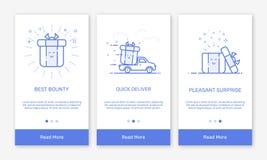 Vectorillustratie van het onboarding van app de schermen en de vlakke pictogrammen van het lijnweb voor elektronische handel mobi Stock Foto's