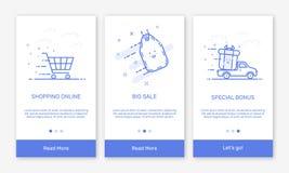 Vectorillustratie van het onboarding van app de schermen en de vlakke pictogrammen van het lijnweb voor elektronische handel mobi Stock Afbeelding