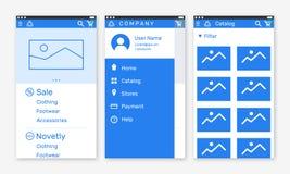 Vectorillustratie van het onboarding van app de schermen en het team van het Webconceptontwerp voor mobiele apps in vlakke lijnst Royalty-vrije Stock Fotografie
