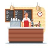 Vectorillustratie van het ontwerp van de koffiewinkel met barista, vlakke stijl royalty-vrije illustratie