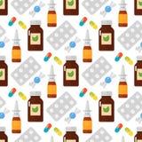 Vectorillustratie van het pillen de naadloze patroon Stock Foto
