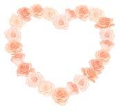 Vectorillustratie van het realistische, gedetailleerde kader van de hartvorm van rozen in perzikkleur op witte achtergrond Royalty-vrije Stock Afbeeldingen