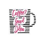 Vectorillustratie van het silhouet van de koffiekop met strepen en het van letters voorzien Stock Foto