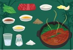 Vectorillustratie van het Sukiyaki de Japanse Voedsel Stock Afbeeldingen