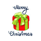 Vectorillustratie van het Vrolijke Kerstmis Van letters voorzien met aanwezig beeldverhaal drowing rood Element voor ontwerpbanne Royalty-vrije Stock Fotografie