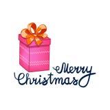 Vectorillustratie van het Vrolijke Kerstmis Van letters voorzien met aanwezig beeldverhaal drowing roze Element voor ontwerpbanne Stock Foto