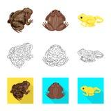 Vectorillustratie van het wild en moerasembleem Inzameling van het wild en reptielvoorraad vectorillustratie stock illustratie