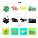 Vectorillustratie van het wild en moerasembleem Inzameling van het wild en reptielvoorraad vectorillustratie vector illustratie