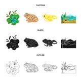 Vectorillustratie van het wild en moeraspictogram Reeks van het wild en reptielvoorraad vectorillustratie stock illustratie