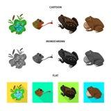 Vectorillustratie van het wild en moerasteken Inzameling van het wild en reptielvoorraad vectorillustratie stock illustratie