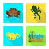 Vectorillustratie van het wild en moerasteken Reeks van het wild en reptielvoorraad vectorillustratie vector illustratie