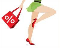 Vectorillustratie van het winkelende meisje met zak Stock Afbeelding