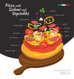 Vectorillustratie van hete Salamipizza met Groenten op houten raad Stock Fotografie