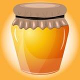 Vectorillustratie van honing op oranje achtergrond Royalty-vrije Stock Foto's