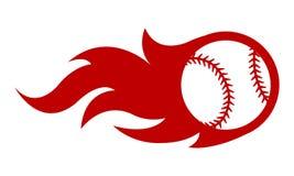 Vectorillustratie van honkbalbal met eenvoudige vlamvorm vector illustratie