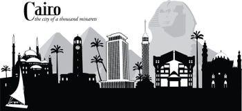 Vectorillustratie van horizon van Kaïro, Egypte vector illustratie