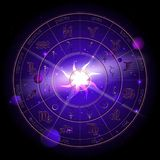 Vectorillustratie van Horoscoopcirkel, Dierenriemtekens en de planeten van de pictogrammenastrologie tegen de ruimteachtergrond vector illustratie