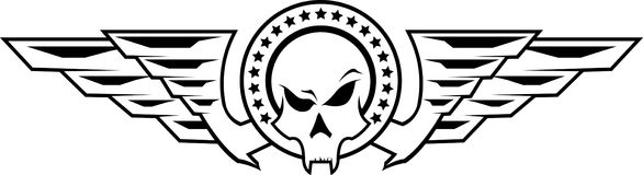 Vectorillustratie van insignes met schedel Royalty-vrije Stock Afbeeldingen