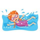 Vectorillustratie van Jong geitje het Zwemmen vector illustratie