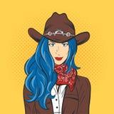 Vectorillustratie van jong mooi meisje in cowboyhoed Pop-art stock illustratie
