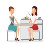 Vectorillustratie van jonge vrouwen in manicuresalon Manicure die procedure met nagellak, manicure, schoonheid doen stock foto's