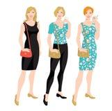 Vectorillustratie van jonge vrouwen in verschillende kleren Royalty-vrije Stock Afbeelding