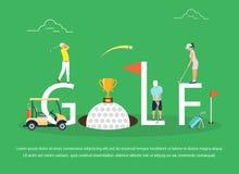Vectorillustratie van jongeren die Golf spelen Stock Afbeeldingen
