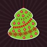 Vectorillustratie van Kerstboom als sticker royalty-vrije illustratie