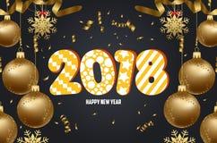 Vectorillustratie van Kerstmis 2018 achtergrond met de confettiengoud van Kerstmisballen stock illustratie