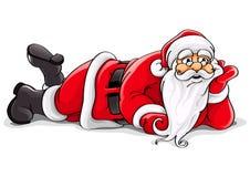 Vectorillustratie van Kerstmis van de Kerstman de liggende Royalty-vrije Stock Foto