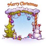 Vectorillustratie van Kerstmispoort met sneeuwman Stock Afbeelding