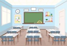 Vectorillustratie van klaslokaal in school Leeg Binnenland van klasse met raad en bureaus voor kinderen in vlak beeldverhaal royalty-vrije illustratie