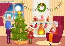 Vectorillustratie van kleindochter en grootvader die Kerstboom verfraaien terwijl grootmoeder het breien De vooravond van Kerstmi royalty-vrije illustratie