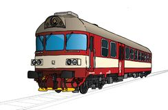 Vectorillustratie van kleine trein in perspectief vector illustratie