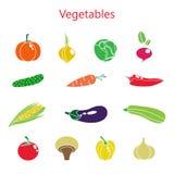 Vectorillustratie van kleurenreeks groenten Royalty-vrije Stock Afbeelding