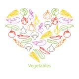 Vectorillustratie van kleurenreeks groenten Stock Afbeelding