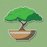 Vectorillustratie van kleurrijke document bonsaiboom. Stock Foto