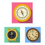 Vectorillustratie van klok en tijdembleem Inzameling van klok en van de cirkelvoorraad symbool voor Web royalty-vrije illustratie