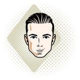 Vectorillustratie van knap donkerbruin mannelijk gezicht, positieve gezichtseigenschappen royalty-vrije illustratie