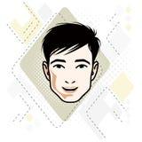 Vectorillustratie van knap donkerbruin mannelijk gezicht, positieve gezichtseigenschappen stock illustratie