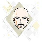Vectorillustratie van knap kaal mannelijk gezicht met snor en baard, positieve gezichtseigenschappen stock illustratie