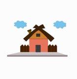 Vectorillustratie van koel gedetailleerd oranje die huis op witte achtergrond wordt geïsoleerd Stock Foto