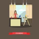 Vectorillustratie van kokende moeder met haar zoon in keuken royalty-vrije illustratie