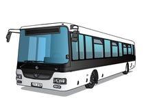 Vectorillustratie van korte zwart-witte bus Stock Foto