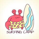 Vectorillustratie van krab met surfplank Stock Foto