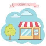 Vectorillustratie van kruidenierswinkelopslag met boom, hemel, gras Royalty-vrije Stock Afbeeldingen