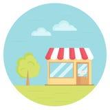 Vectorillustratie van kruidenierswinkelopslag met boom, hemel, gras vlak Royalty-vrije Stock Foto