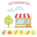 Vectorillustratie van kruidenierswinkelopslag met plantaardige pictogrammen Stock Foto