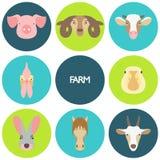 Vectorillustratie van landbouwbedrijfdieren met steekproeftekst Stock Afbeeldingen